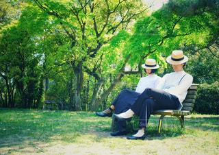 麦わら帽子のふたりの写真・画像素材[3145100]