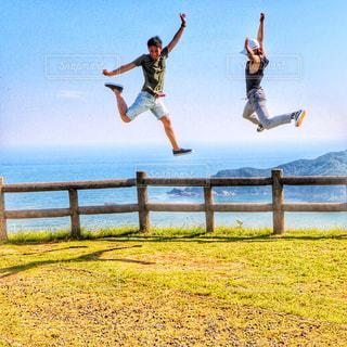友だち,自然,海,ジャンプ,展望台