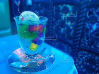 レトロな喫茶店を水色のフィルターで♡の写真・画像素材[4841858]