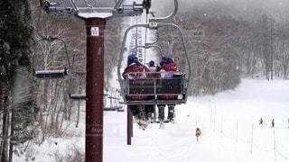 女性,友だち,2人,10代,風景,アウトドア,スポーツ,雪,屋外,白,後ろ姿,白い,樹木,人物,旅行,ニット帽,スキー,寒い,高校生,ゲレンデ,レジャー,リフト,修学旅行,お揃い,スキーウェア,スキー牽引