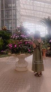 建物の前にピンクの花が立っているの写真・画像素材[3608262]