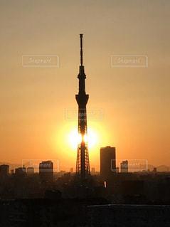 夕陽とスカイツリー。の写真・画像素材[2999002]