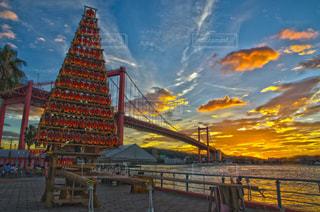 風景,橋,青,夕焼け,オレンジ,祭り,夕景,若松,戸畑