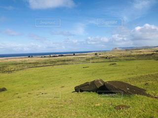 自然,風景,空,絶景,草原,景色,草,旅行,モアイ像,イースター島