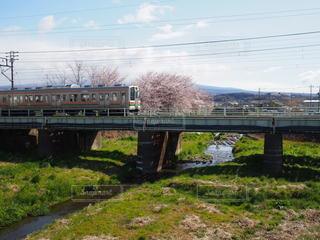 風景,空,桜,橋,新緑,鉄道,春の訪れ