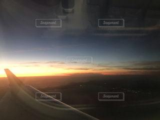 空,夕暮れ,飛行機
