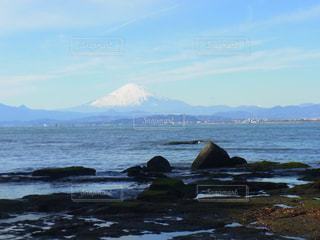 風景,海,空,富士山,屋外,海辺,海岸,山
