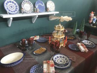 屋内,デザート,テーブル,皿,キャンドル,食器,たくさん,コーヒー カップ