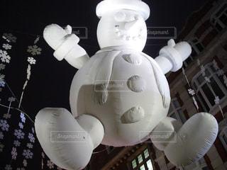 冬,夜,屋外,白,ライト,街,雪だるま,バルーン
