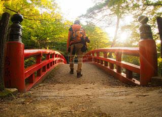 赤い橋を渡っての写真・画像素材[3871005]
