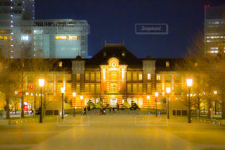 建物,夜,屋外,東京駅,都会