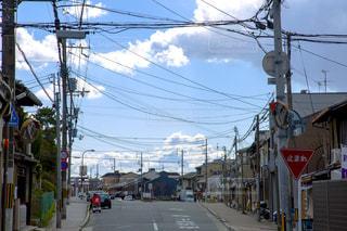 風景,空,屋外,京都,青空,道路,通り
