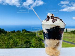食べ物,自然,海,空,夏,コーヒー,絶景,屋外,雲,青空,デザート,ハワイ,パフェ,ドリンク