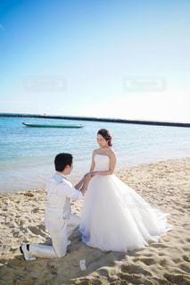女性,男性,恋人,自然,空,屋外,ビーチ,水面,海岸,結婚式,ドレス,人,夫婦,プロポーズ,結婚式ドレス
