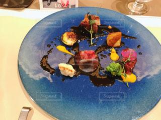 食べ物,ディナー,青,テーブル,皿,レストラン,料理,フォアグラ,デート,お肉,肉食