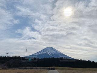 自然,風景,空,富士山,屋外,太陽,山,日の出,高原,日中,朝方
