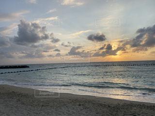 風景,海,空,太陽,ビーチ,砂浜,夕暮れ,水面,海岸