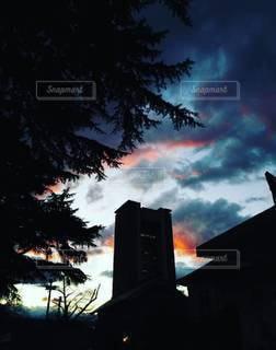 自然,夜空,屋外,夕暮れ,樹木,クラウド