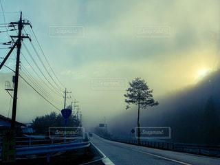 自然,風景,朝日,田舎,霧,電柱,道,朝