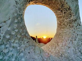 夕日,赤,白,丘,洞窟,夕陽,石,サンセット,穴,大理石