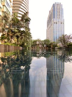 空,建物,屋外,水面,反射,樹木,高層ビル,ヤシの木,リゾート,草木