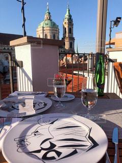 空,ディナー,屋外,テーブル,皿,食器,チェコ,モーツァルト