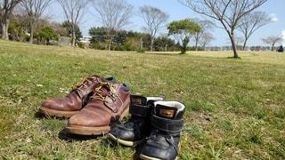 公園,靴,屋外,親子,景色,草,スニーカー