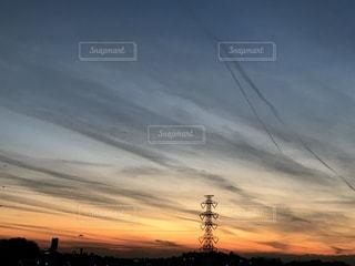 空,雲,夕焼け,夕暮れ,電線