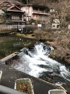 自然,温泉,屋外,白,川,水面,滝,樹木,福島,宿,東山温泉