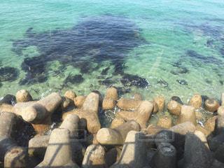 自然,海,屋外,湖,ビーチ,青,水面,葉,岩,眺め,テトラポット