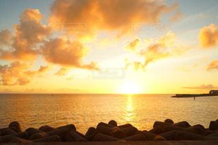 自然,海,空,太陽,夕暮れ,水面,夕陽