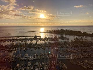 空,夕日,ビーチ,水面,ヨットハーバー