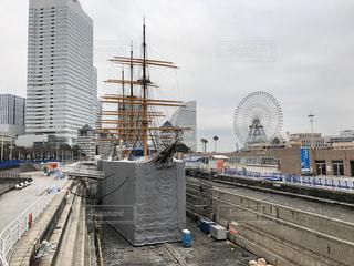 空,観覧車,船,工事,横浜,みなとみらい,日本丸,メンテナンス