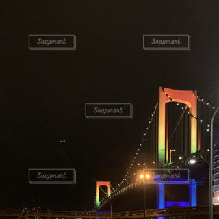 空,夜,橋,屋外,虹,都会,レインボーブリッジ,明るい