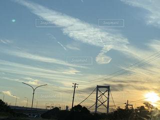 空,橋,屋外,虹,明石海峡大橋,彩雲