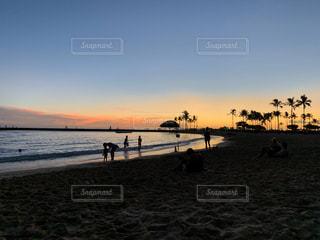 自然,海,空,屋外,海外,太陽,ビーチ,砂浜,夕暮れ,水面,海岸,樹木,ヤシの木,ハワイ,サンセット,ハネムーン,新婚旅行,日中,クラウド