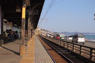 空,駅,道路,鉄道,鎌倉,江ノ電,プラットフォーム