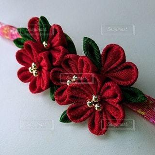 花,赤,布,つまみ細工,帯留め