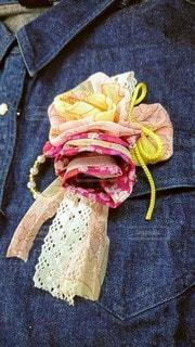 花,布,人,手作り,コサージュ