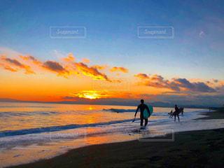 自然,海,空,屋外,太陽,サーフィン,ビーチ,砂浜,夕暮れ,海岸