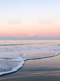 自然,風景,海,空,富士山,ビーチ,波,水面,海岸,朝,日の出