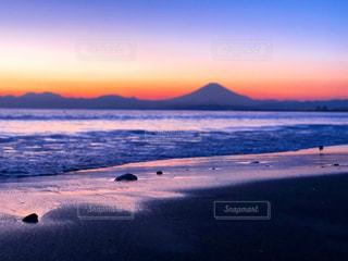 自然,風景,海,空,富士山,屋外,ビーチ,雲,夕暮れ,波,水面,海岸,山,藤沢市