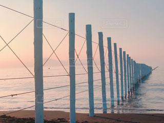 空,夏,ビーチ,朝,江ノ島,早朝,夏の海,ライン,夏の朝