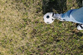 子ども,友だち,芝生,屋外,ジーンズ,草,サッカーボール,ボール,サッカー,スニーカー