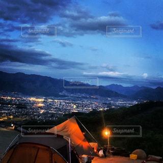 風景,夜,屋外,山,キャンプ,テント,景観