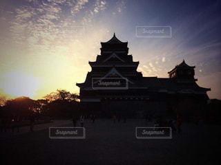 風景,空,建物,屋外,太陽,雲,夕暮れ,夕方,城,熊本,熊本城,夕陽