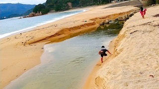 子ども,家族,2人,自然,空,屋外,湖,砂,ビーチ,砂浜,水面,海岸,山,人