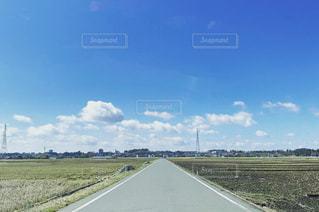 風景,空,青空,道路,道,田舎道,クラウド,青空に伸びる一本道
