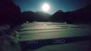夜,雪,山,月