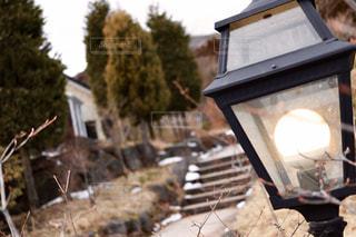 雪,屋外,階段,街灯